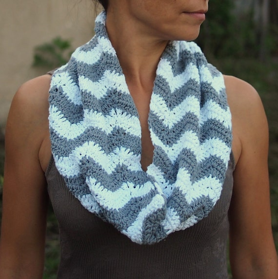 Items Similar To Chevron Zigzag Crochet Scarf Loop Infinity Scarf