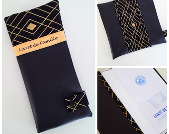 protects family black and gold imitation leather