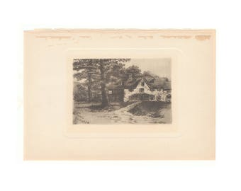 """Original antique print of The Foulke House, Penllyn PA,  from 1902 book """"Romances of Early America"""" - Free US Shipping"""