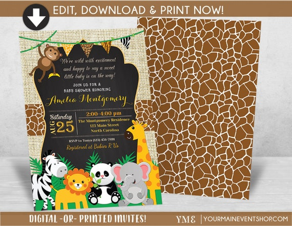Jungle Safari Baby Shower Invitation - Jungle Shower Invites - Safari Animal Invitation - Neutral Baby Shower Party - Baby Sprinkle • BS-A-1