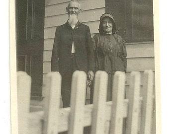 Anabaptist American Gothic rural farm couple long white beard vintage photo