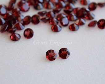 Natural Red Garnet 6 MM, 5.5 MM, 5 MM Faceted Round / Fine Quality Garnet / January Birthstone / Priced by lot
