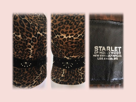 1950s True Glamour STARLET of HOLLYWOOD Black Velvet Starburst Adjustable Belt-Sz 28 Waist