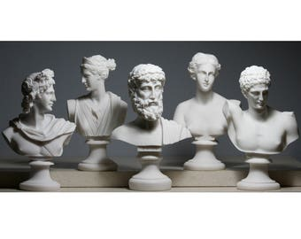 Set 5 Bust Head God Zeus Artemis Aphrodite Hermes Apollo Greek Roman Statue *Free Shipping & Free tracking Number**