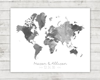 Watercolor World Map Guest Book, World Map, Digital File, Printable, Travel Themed Wedding, Watercolor