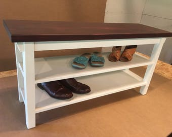 """Hallway / Mud Room / Foyer Bench 30"""" With Two Shoe Shelves In Your Choice Of Color"""