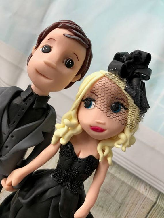 personalised clay Wedding cake topper steampunk bride and groom figures