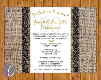 Surprise Party Golden Wedding 50th Anniversary Invite Burlap and Black Lace Gold 50 Years Invitation Printable 5x7 Digital JPG (432bl)