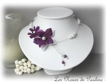 Purple and white wedding flower Julia necklace