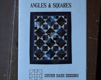 "Angles and Squares Quilt Pattern by Churn Dash Designs, 30"" by 38"" Small Quilt, Scrap Quilt, Template Style Quiltmaking, Unused, 1990"