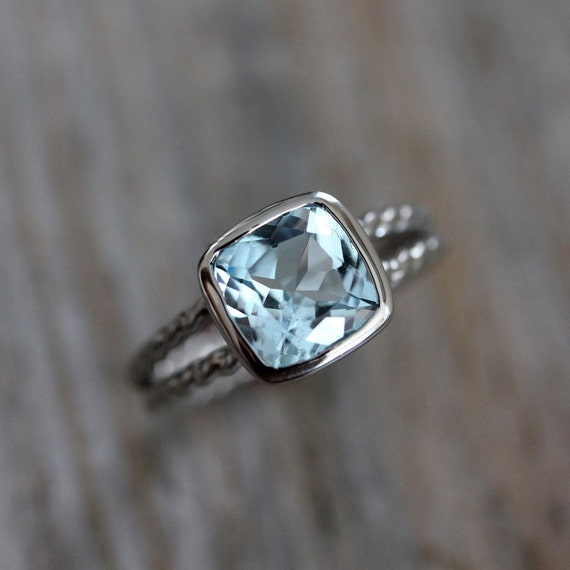 gold blue rings ring white topaz sky engagement unusual