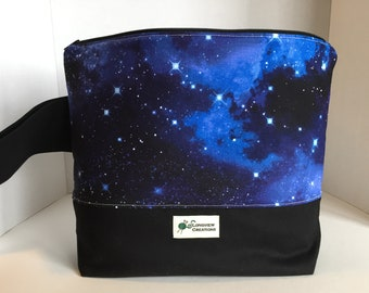 Knitting Project Bag, Wedge Bag, Zippered Bag, Large Shawl Size, Space, Stars