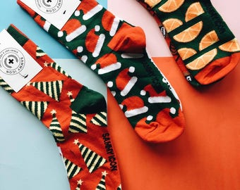 Koleda Christmas Socks Set in Three Mismatched Pairs, Santa Socks, Orange Socks, Red Socks, Winter Socks, Party Socks, Celebration Socks
