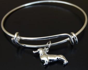 Dachshund Bangle Bracelet, Adjustable Expandable Bangle Bracelet, Dachshund Bracelet, Doxie Bracelet, Dachshund Charm, Dachshund Lover Gift