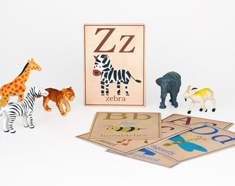 "Digital animal ABC  alphabet flashcards / downloadable / printable / 3"" by 4"""