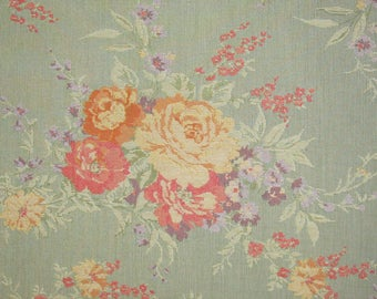 Victorian ROSES on Light Blue Tapestry Upholstery Fabric BTY By the Yard Cottage Chic Home Decor
