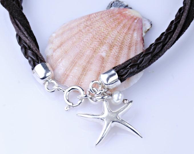 Silver Starfish Charm, Brown Leather Bracelet, Handmade Brown Leather Starfish Bracelet, Beach Wedding, Bridesmaid, Mom, Fiancée, Sea Lover