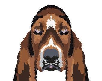 Hound Dog. Cross Stitch pattern, Digital Download PDF. Geometric hound dog design. Cool and Modern