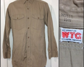 1950s WTC Grant Co. sanforized heavy cotton twill work shirt size medium 15.5 tan beige with gussets made in USA