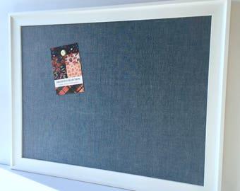 Boy's room, Denim chambray bulletin board, EXTRA LARGE framed navy blue linen magnetic board, message center, office dec, beach house decor