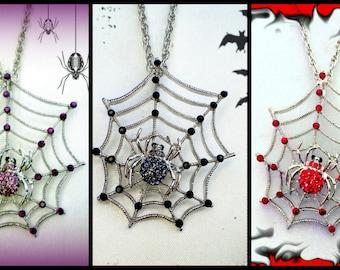 50% HALLOWEEN SALE Halloween Necklace..Spider Necklace..Halloween Jewelry..Spider Necklace..Spider Web Necklace..Spider Costume Accessory