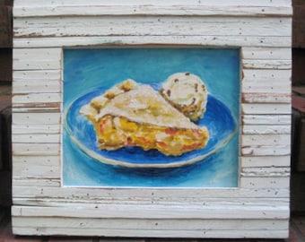 Peach Pie painting, Pie art,  Pie and ice cream painting, Pie painting, Pie ala mode painting, Comfort food, kitchen art, pie lover gift