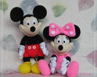 Mickey mouse and Minnie mouse 10 inches - PDF amigurumi crochet pattern