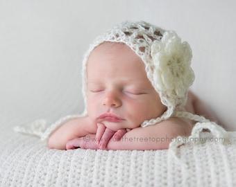 NEWBORN Girl Bonnet, Baby Girl Hat, Baby Girl Mohair Bonnet, Newborn Cream Bonnet, Mohair Cream Bonnet. Mohair Soft Bonnet. Baby Photo Props