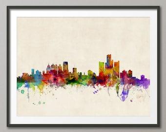 Detroit Michigan Skyline, Art Print (535)