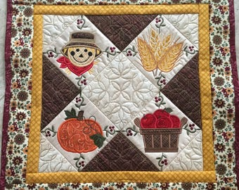Country Fall Wall Hanging Quilt, Harvest Gold Quilted Autumn Wall Hanging, Machine Embroidered Holiday Art Quilt, Quiltsy Handmade