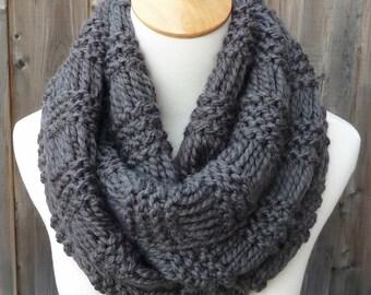 Charcoal Gray Infinity Scarf - Dark Gray Infinity Scarf - Wool Infinity Scarf - Circle Scarf - Ready to Ship
