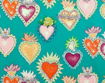 Alexander Henry Gothic Alma y Corazon Tattoo Style Soul & Hearts on Green 100% Cotton Fabric - FQ
