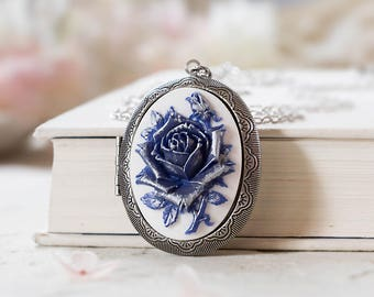Blue Rose Cameo Silver Locket Necklace, Large Victorian Floral Oval Locket, Photo Locket Picture Locket Necklace, Mothers day Gift for mom