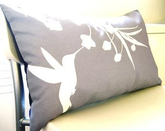 Limited Time Sale  Slate Hummingbird with Eucalyptus Rectangle Pillow