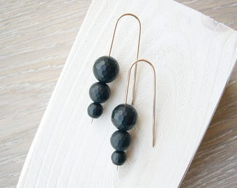 Black Onyx Earrings, 14k Gold Jewelry, Modern, Threader, Contemporary, Faceted Stone, Matte Finish