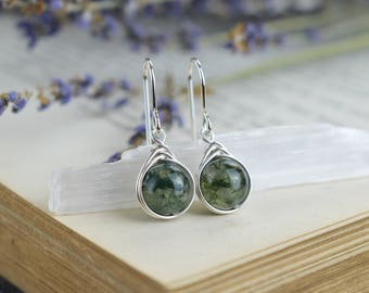 Moss Agate Drop Earrings 925 - Sterling Silver Moss Agate Earrings - Secret Wood Earth Earrings - Green Gemstone Drop Earrings