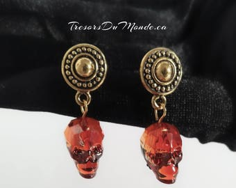 14K Gold Earrings with Swarovski Crystal Skulls/Gold plated earposts/Antique gold/Gun metal spacers/Pierced ears/Ready2Ship/Gift/Skull lover