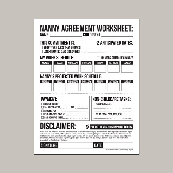 Baby Sitter Contact List Worksheet - Free Printable Worksheet from ...