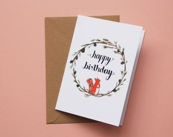 Happy Birthday Squirrel, Greetings Card