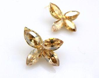 christmas prom bridal wedding bridesmaid gift Swarovski golden shadow four marquise flower foiled crystal rhinestone gold stud post earrings