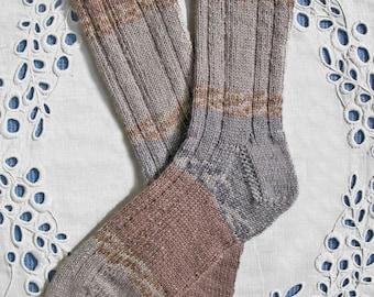 Beige Gray Tan Hand-Knit Wool Socks, Women Small-Medium Size, Superwash Yarn