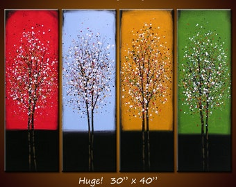 """Art 40"""" across Rainbow Wall Art Landscape Original Large Abstract Painting Trees ...red blue yellow green .... Evening Songs"""