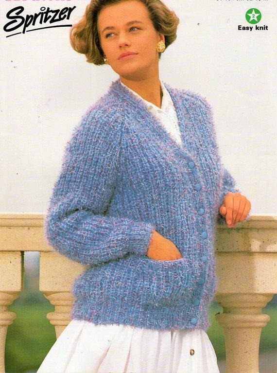 ladies chunky fishermans rib cardigan knitting pattern PDF