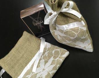 Burlap Gift Bags/ Burlap Drawstring bags (white) Set of 10 (N0080)