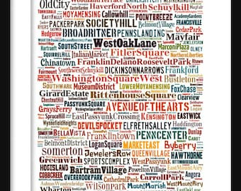 Philadelphia Map - Typography Neighborhoods of  Philadelphia Poster Print
