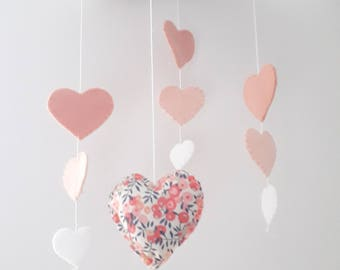 Baby Mobile - Hearts and flowers - blush pink nursery decoration - cloud mobile
