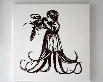 Affamés de soie enfant manger des homards juteux projeté mur naturel toile suspendue de 16 x 16 noir