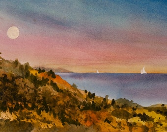 Sunset Moonrise Watercolor Original Painting, Seascape, Northern California, Dusk, Full Moon, Pink Sky, Autumn Colors