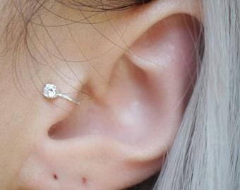 Sterling Silver 3mm CZ Tragus Ear Cuff