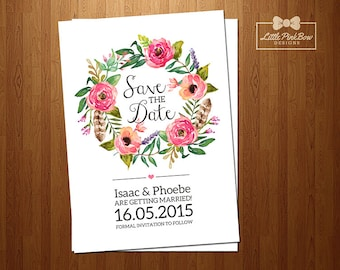 Save The Date Wedding Invitation, Floral Wreath Save The Date Invitation Printable, Printable Wedding Save the Date, Wedding Invitation